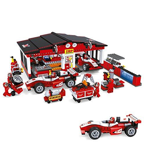 Ausini - Juego de bloques Taller & boxes Fórmula 1 & 6 mecánicos - 852 piezas (ColorBaby 42862)