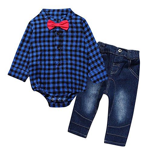Kleinkind Langarm Denim-shirt (Yaodgfa Baby Jungen Kleidung Set Shirt Strampler Hemd + Hose Jeans Body langarmshirt Bowknot Langarm Kariertes Ausstattung Kleinkind Gentlemen Herbst)