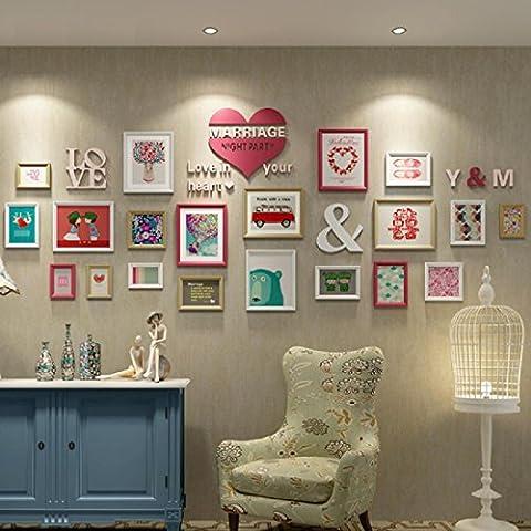 X&L Foto Europea pared pared dormitorio living comedor madera sólida de la foto marco foto marco colgante de pared foto combinación creativa de pared minimalista moderna , 1
