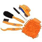 CkeyiN 6pcs/ kit de nettoyage de vélos outils de nettoyage moto Brosse de pneu Chaîne Disque de frein Nettoyeur