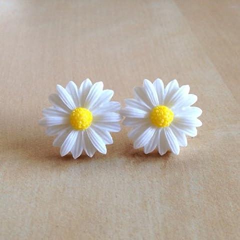 TOOGOO(R) Estilo lindo del vintage de la margarita linda Pequena Flor Stud nueva - blanco