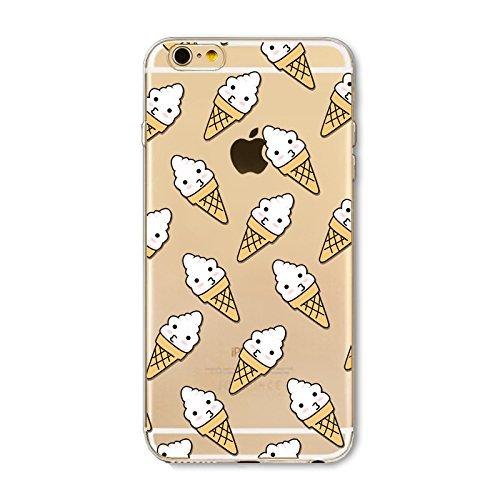 Coque iPhone 5 5s Housse étui-Case Transparent Liquid Crystal en TPU Silicone Clair,Protection Ultra Mince Premium,Coque Prime pour iPhone 5 5s-Beignet et de la glace-style 9 15