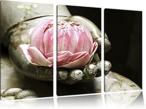 Lotus sur la main d'un Bouddha 3-piece Canvas Art 120x80 image on canvas, XXL huge Pictures completely framed with stretcher, Art print on wall picture with frame, gänstiger as a painting or an oil painting, not a poster or banner
