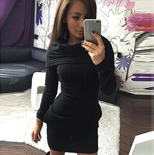 Sannysis Damen Bodycon Hoodie Kleid Schwarz