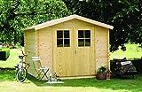 Alpholz Gerätehaus Mons aus Fichten-Holz | Gartenhaus inkl. Dachpappe | Geräteschuppen mit Satteldach (300 x 330cm)