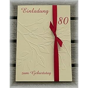 Produktsuche. Einladung Einladungskarte Blätter Geprägt Runder Geburtstag 40  50 60 70 80 90 Personalisierbar Dunkelrot Bordeaux