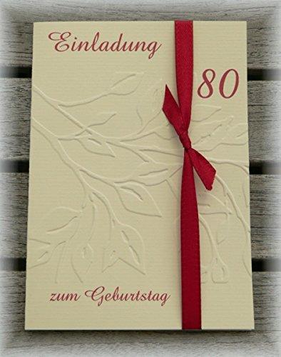 Einladung Einladungskarte Blätter geprägt runder Geburtstag 40 50 60 70 80 90 personalisierbar dunkelrot bordeaux