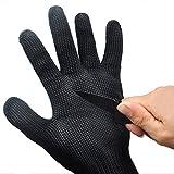 #5: Chinatera Baby Boy's Pair Cut Metal Mesh Butcher Anti Cutting Breathable Work Gloves Safe Protector Medium Black