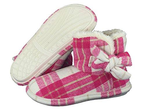 Mesdames Booties Doublure flanelle Tartan frappant arceau latéral chaussons taille 3 à 8 Fuchsia