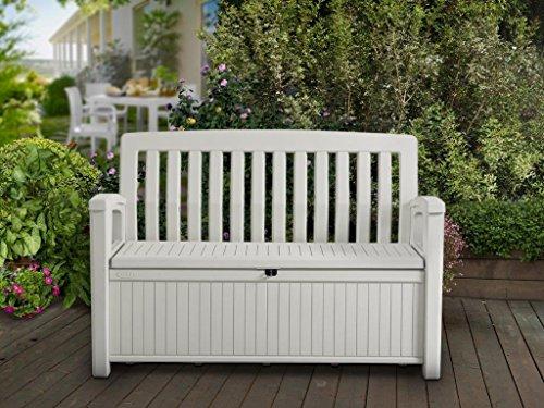 Koll Living Gartenbank / Aufbewahrungsbox / Auflagenbox Farbe Weiß – 227 Liter – Deckel belastbar bis 272 KG – Belüfteter innenraum – kein übler Geruch oder Schimmel – Modell 2018 - 2