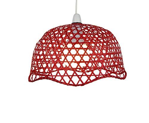 C32–33cm rojo lacado estilo de cúpula de bambú lámpara de techo,
