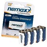 4x Nemaxx Lithium 9V Block Batterie Set für Rauchmelder 10 Jahre Lebensdauer