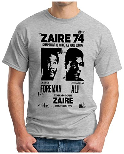 OM3 - ZAIRE74-FOREMAN-vs-ALI - T-Shirt - Rumble In The Jungle Afrika Africa Heavyweight Boxing Fight Champion, S - 5XL Grau Meliert