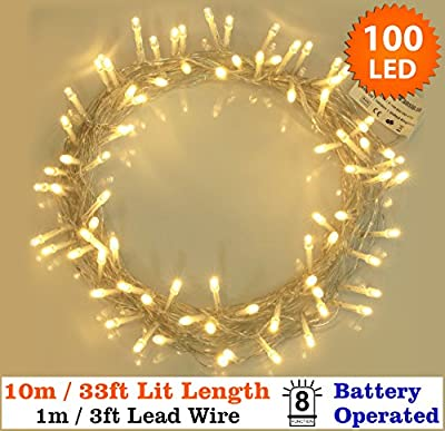 100 Warm white Power & Battery Operated Clear Cable