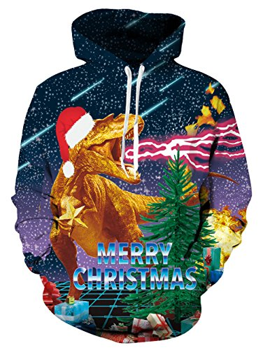 life, realistische 3D Fantasy-Frohe Weihnachten Cool Blitz Dragon humorvolle Fleece Pullover Hoodie Sweatshirt für Erwachsene groß gedruckt (Dinosaurier Hoodie Für Erwachsene)