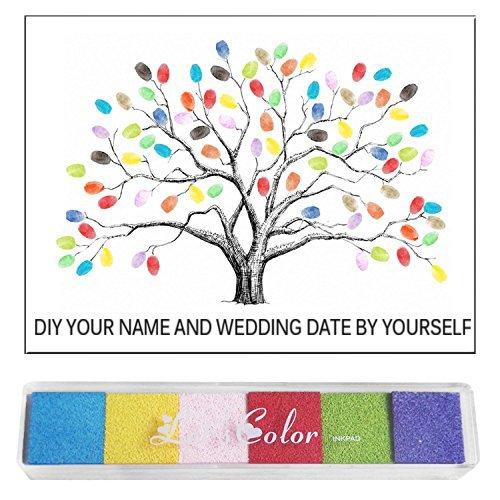 Gosear Lustig DIY Gästebewertungen Signatur Einloggen Fingerabdrücke Baum Malerei Leinwand für Hochzeit Geburtstag Partei mit Tinte Pads Festgelegt (Leinwand Baby)