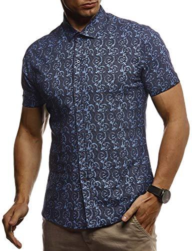 LEIF NELSON Herren Hemd Kurzarm Slim Fit T-Shirt Kentkragen | Stylisches Männer Freizeithemd Stretch Kurzarmhemd | Jungen Basic Shirt Freizeit Sweater Sommerhemd | LN3755 Blau X-Large