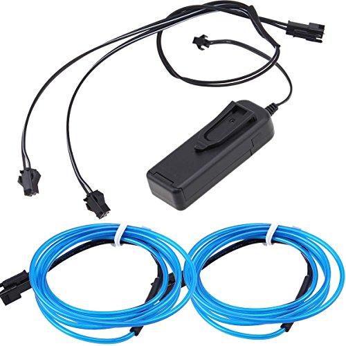 Preisvergleich Produktbild 2 in 1 Blau Neon Beleuchtung 1m EL Kabel mit 3V Kontroller Adapter Flexibel Wasserdicht für Weihnachten Halloween Partys Kostüm Autos Dekor Geschenk