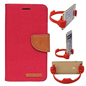 Aart Fancy Wallet Dairy Jeans Flip Case Cover for HTC826 (Red) + Flexible Portable Mount Cradle Thumb OK Designed Stand Holder By Aart Store.