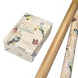 Geschenkpapier Set 2 Rollen (75 x 150 cm), modernes Streifen Design mit Relieflack, Recyclingpapier hochwertig mit Glitter veredelt. Für Geburtstag, Kinder. Vintage und hochwertig.