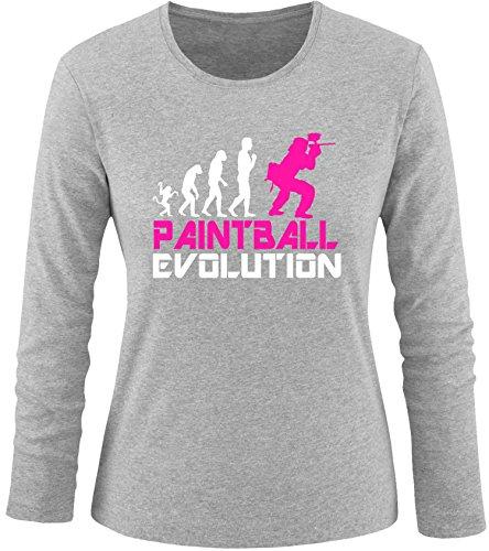 EZYshirt® Paintball Evolution Damen Longsleeve Grau/Weiss/Pink