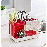 Rainbow Love Creative Herramientas de cesta de drenaje) KitchenAid de almacenamiento gadget rack Organizador de soporte de cepillo para fregadero, ideal para cocina y baño rosso