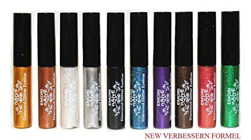 Diamant-Glitter & Shimmer Style 10 Stück Liquid Eyeliner Lidschatten Color Set + Mikrofaser-Beutel-Beutel