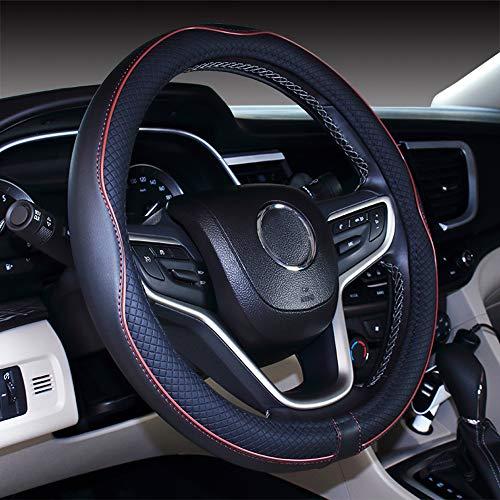 Istn Mikrofaser Leder Auto Lenkradbezug 38cm für die meisten Autos (Black Brown)