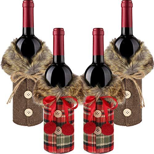 4 Unidades Cubiertas Botellas Vino Navidad Botón