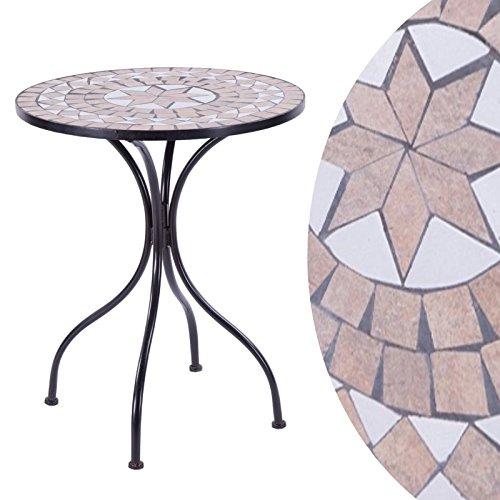 Beistelltisch für den Garten und Terrasse Metall Gestell und Stein Mosaik rund 60 Ø cm brauntöne
