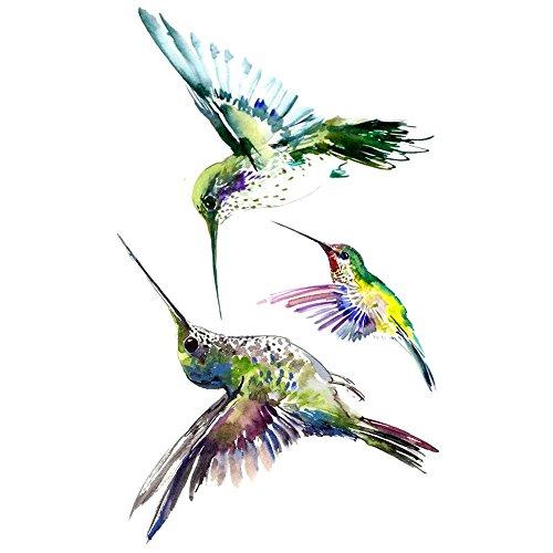 WYUEN 5 Blätter Vogel Kolibri Fake Tattoo Wasserdicht Temporäre Tätowierung Aufkleber Für Frauen Männer Körperkunst 9,8X6 cm FA-101