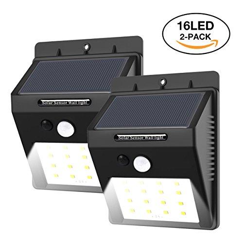 2 Stück 16 LED Solarleuchte mit Bewegungsmelder, E-tro Wasserdicht Solar Licht Solar Wandleuchte, Super Hell Solar Außenleuchte Bewegungssensor Solarlampe Auto On / Dim / Off für Außenbeleuchtung