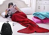Blesu chaud Couverture Queue de sirène en tricot doux Coton doux et en laine, crochet Snuggle sirène Couverture pour adulte adolescents, toutes les saisons de couchage couvertures 180,3x 81,3cm Meilleur anniversaire Cadeau de Noël