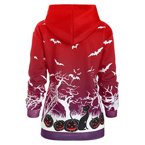SKays Damen Langarm Halloween Cosplay Rundhalsausschnitt Kürbis Casual Sweatjacke Print Bedruckter Knopf Lose Top T-Shirts MäDchen Blusen Outerwear Jacke