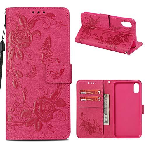 Klappetui für iPhone XR iPhone 9 (15,2 cm / 6,1 Zoll), mit Handschlaufe und Kartenfächern, PU-Leder, Geldbörse mit Kreditkartenfächern, Rose (Unlocked Cell Phone Refurbished)