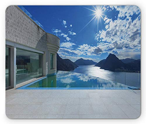 Modern Mouse Pad, Mountains Landscape View from House with Infinity Pool Architecture and Clouds, Standard Size Rectangle Non-Slip Rubber Mousepad, Blue Coconut