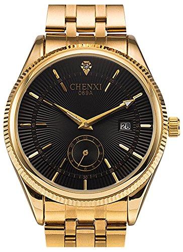 Fanmis Hombres analógico Cuarzo Negro dial Dorado Reloj Banda de Acero Inoxidable de Negocios Vestido Reloj de Pulsera clásico Calendario Fecha Ventana 3ATM Resistente al Agua