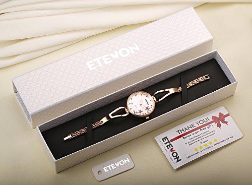 ETEVON Women's Quartz Rose Gold Armband Uhr mit Strass Blumen Zifferblatt und Edelstahl Case, stilvolle Casual Dress Handgelenk Uhren für Damen - 2