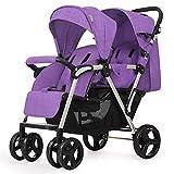 QZX Doppelkinderwagen Tandem Buggy Neugeborener Kinderwagen mit Verstellbarer Rückenlehne und Fußstütze 5-Punkt-Sicherheitssystem,Purple