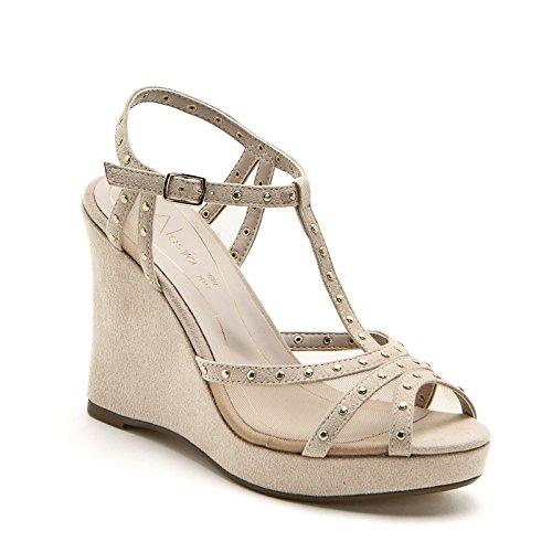 ALESYA by Scarpe&Scarpe - Schuhe mit Keilabsatz, mit Einsätzen aus Netztextil und Mikronieten Beige