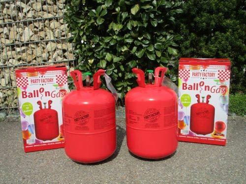 Air Products 2 STK.Helium-Gasflasche Set Angebot Ballon-Gas Einweg für ca. 100 Luftballons + 50 Luftballons Gratis 24061-2 (100 Helium Luftballons)