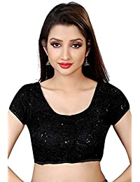 Spangel Enterprise Women's Round Neck Black Sequence Ready Made Saree's Blouse
