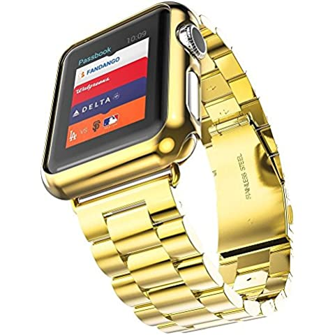 Orologio per Apple, in acciaio INOX, 3 punti Fucool-Bracciale con cinturino da polso, Cover protettiva per Apple-iWatch
