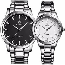 foxqueena-240Titan Stahl Band Simple Fashion Design Paar HIS und HERS Handgelenk Uhren BW Set von 2