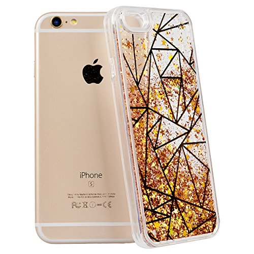 SMART LEGEND iPhone 6 Plus/iPhone 6S Plus Weiche Silikon Bumper Liquid Hülle Glitter Transparent Hart Rückseite Schutzhülle mit Linie Gold Bling Muster Fließen Flüssig Schwimmend Premium Shiny Glanz S Dreieck Gold