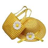 ACVIP Bimba e Bambina Cappello da Sole e Borsetta in Paglia con Decorativo Margherita (giallo)