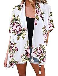Yogogo Femme Plage Floral Mousseline De Soie Cover Up Tankini Maillots De Bain Bohemia Imprimé En Vrac ChâLe Kimono Cardigan