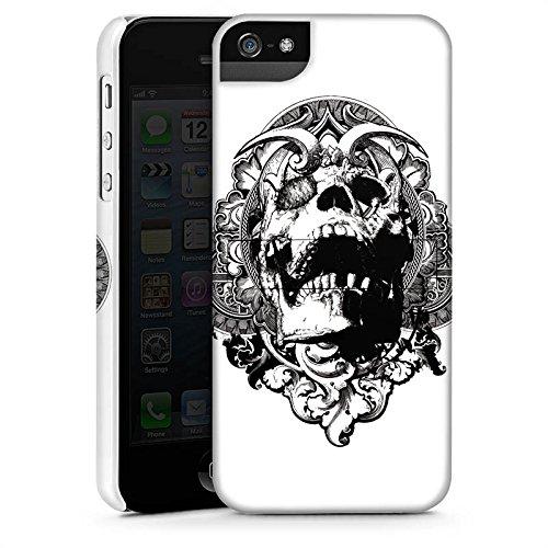 Apple iPhone 4 Housse Étui Silicone Coque Protection Crâne Démons Tête de mort CasStandup blanc