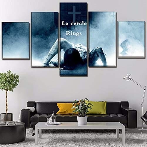 mmwin Oeuvre Unique Modulaire Photo 5 Pièces Toile Imprimée s Anneaux Mur Moderne Art Décoration de La Maison Travail