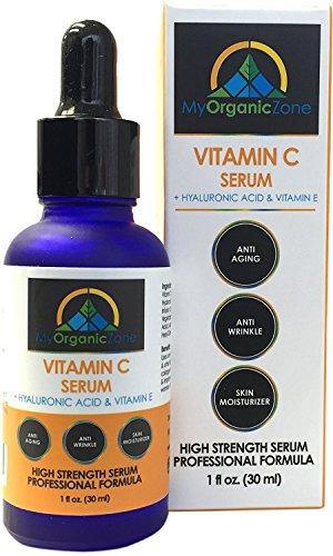 Vitamin-C-Serum + Hyaluronic-Acid + Vitamin-E - Anti-Aging, Anti-Wrinkle, Dry-Skin-Moisturizer and Skin-Bleaching, Professional Formula Skin-Whitening-Cream with High Strength and Natural Ingredients